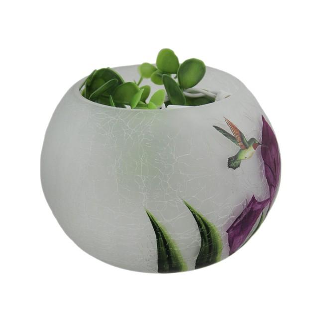 "Round Glass Hummingbird Vase W/Led - 5"" Decorative Vases"