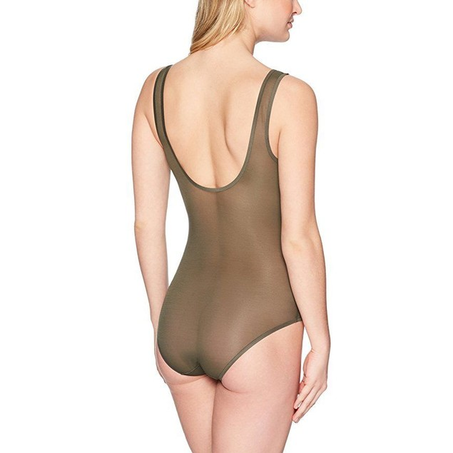DKNY Women's Runway Collection Bodysuit, Military, SZ : Large