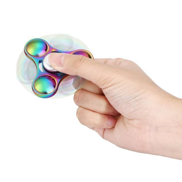 Rainbow Colors Titanium Alloy EDC Hand Fidget Spinner High Speed Focus Toy