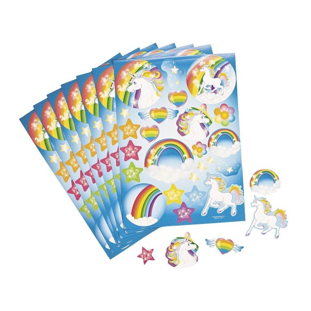 Fun Express Unicorn Rainbow Sticker Sheets by, 2 Dozen
