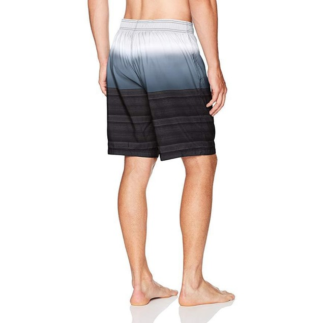 Speedo Men's Surging Stripe E-Boardshorts, SZ Large, Black/Grey