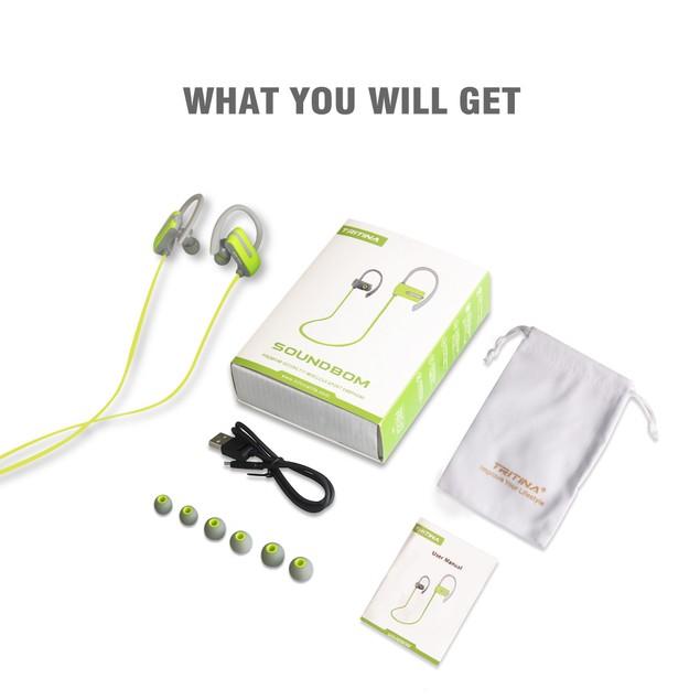 Tritina Sports Headphone,Sweatproof Wireless Earphones With Mic