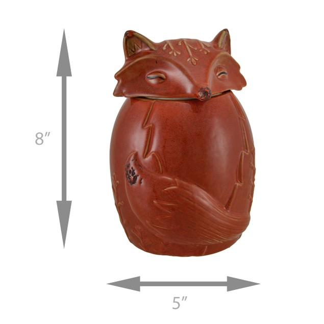 Orange Ceramic Fox Cookie / Treat Jar Cookie Jars