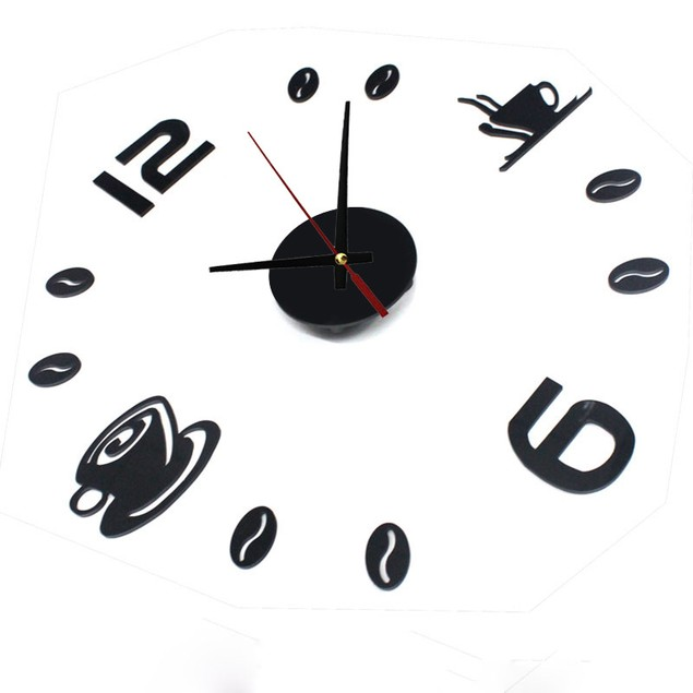 DIY Acrylic Self Adhesive Interior Wall Mute Clock Home Decoration