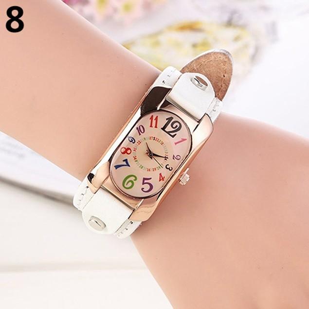 Women's Fashion Faux Leather Strap Oblong Quartz Wrist Watch