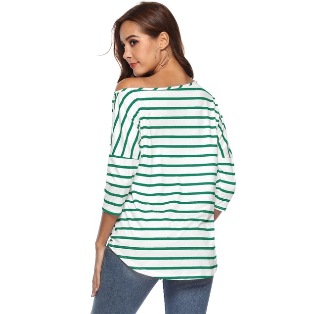 Striped One Side Off Shoulder with Side Tie Blouse