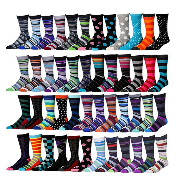 12-Pairs Mystery Deal: Excell Men's Fashion Designer Dress Socks