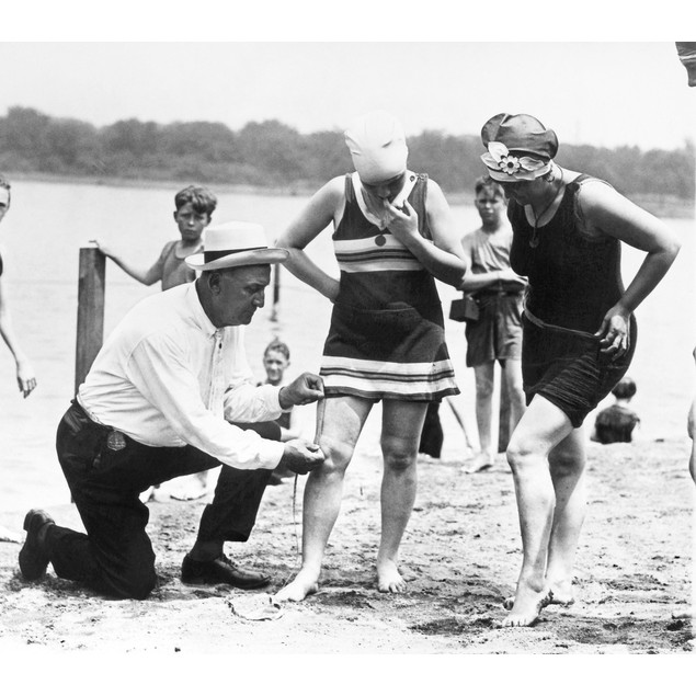 Bathing Suits, 1922. /Na Public Buildings And Grounds Officer Measures Wome