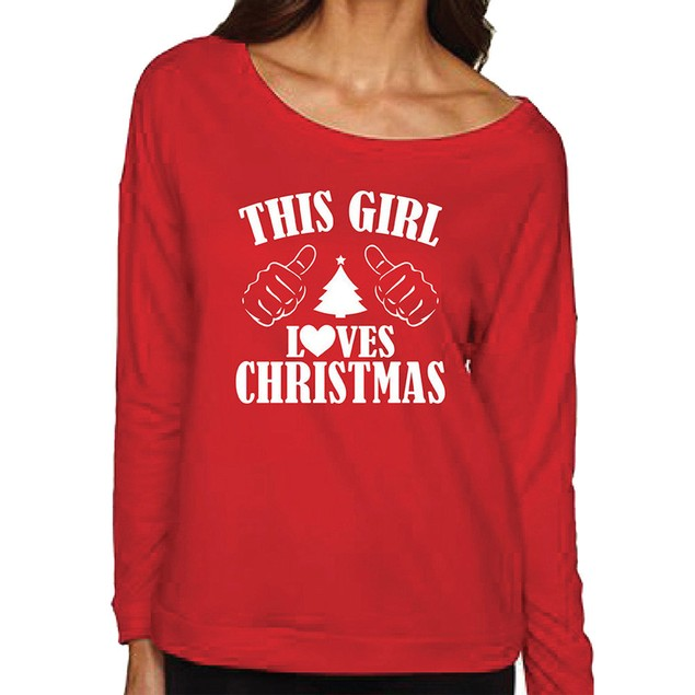 Women Christmas long Sleeve Blouse Letter Print Sweatshirt Pullovers D