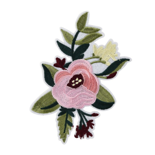 Pink Peony Flower Embroidery Badge Clothes Fabric Patch Applique Decor DIY