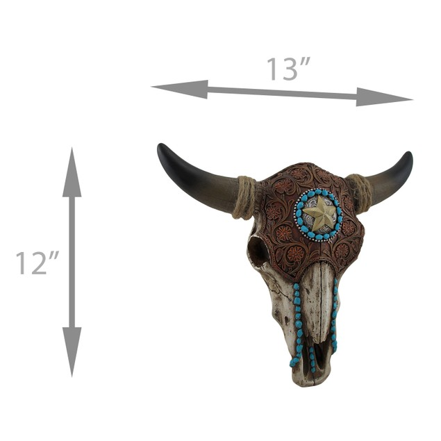 Tooled Leather Look Covered Southwest Bull Skull Wall Sculptures