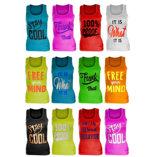 12-Pack Women's Ribbed 100% Cotton Printed Racerback Tank Tops