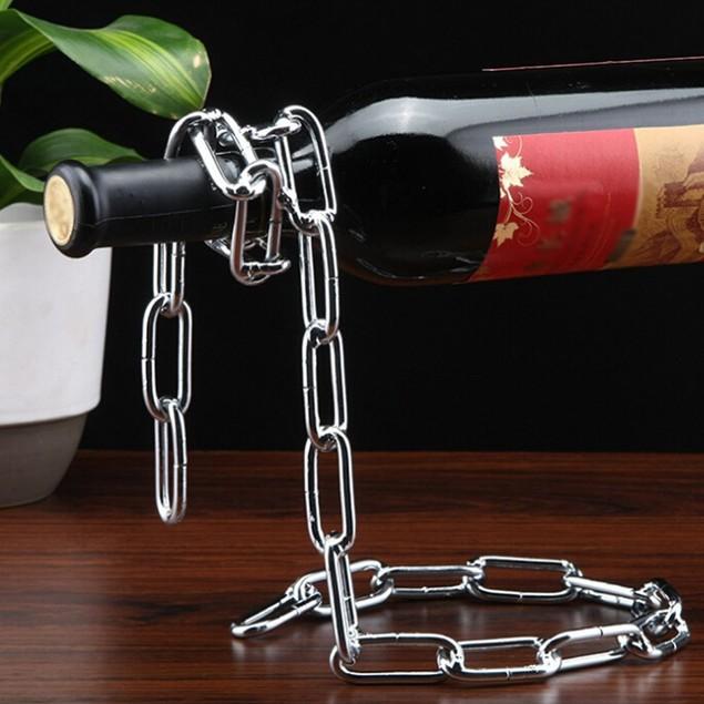 Eravino Novelty Magic Floating Steel Link Chain Wine Bottle Rack/Holder