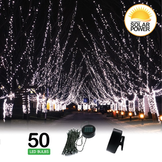Solar String Lights with Clip and Stake - 50 LED
