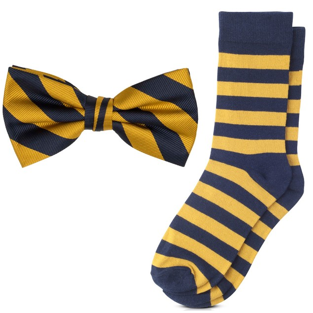 Jacob Alexander Matching College Stripe Dress Socks and Bow Tie