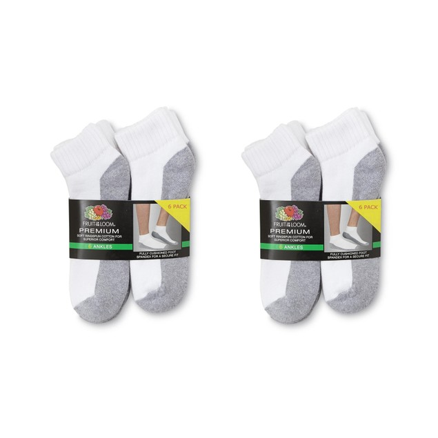 12 Pairs Fruit of the Loom Men's Premium Socks