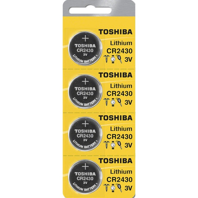 Toshiba CR2430 3-Volt Lithium Coin Cell Batteries (4 Batteries)