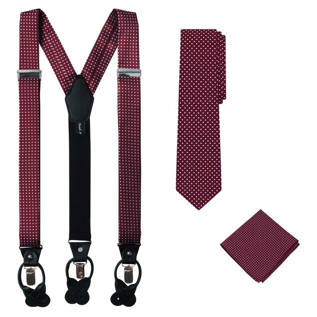 Jacob Alexander Matching Polka Dot Suspenders Handkerchief and Tie