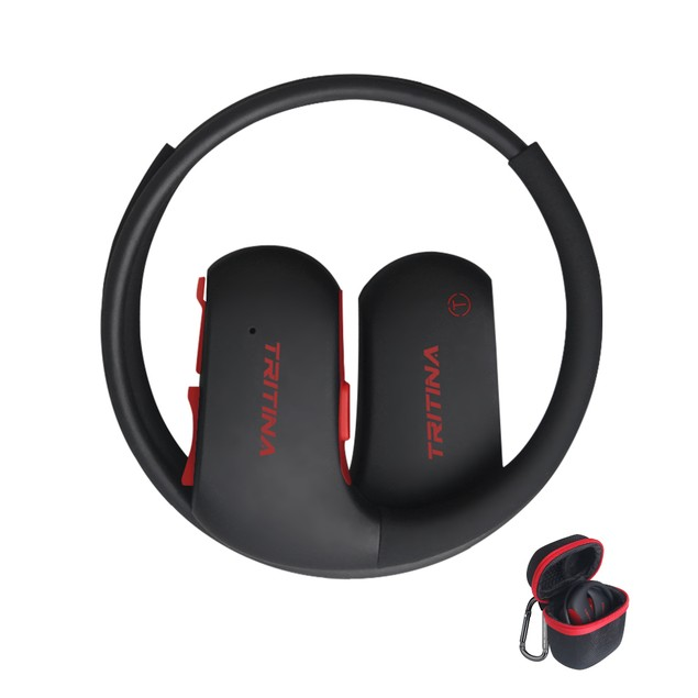 Tritina Bluetooth Earbud Headphones w/ Waterproof Mic 7-9 Hrs,Case