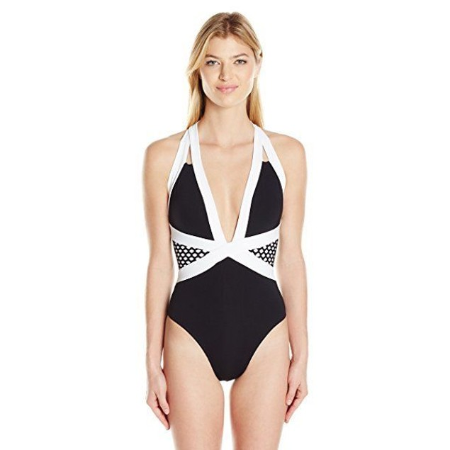 JETS by Jessika Allen Women's Luxe Contrast Banded Plunge One Piece US SZ 4