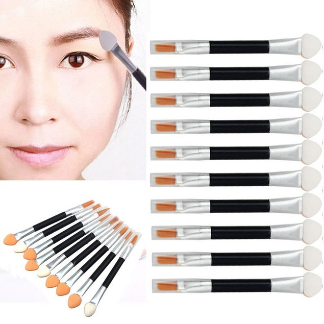 10Pcs Sponge Double-end Eye Shadow Eyeliner Brush Applicator Makeup Tool