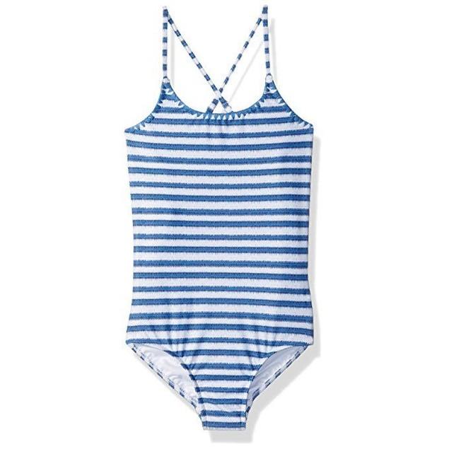 Seafolly Big Girls' Stripe Tank Swimsuit, Hawaii Blue, aus  8