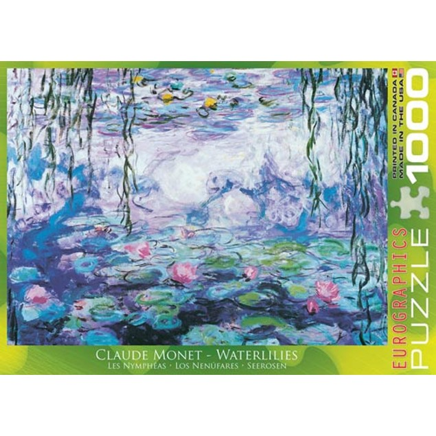 Waterlilies Claude Monet 1000 Piece Puzzle, 1,000 Piece Puzzles by Eurograp