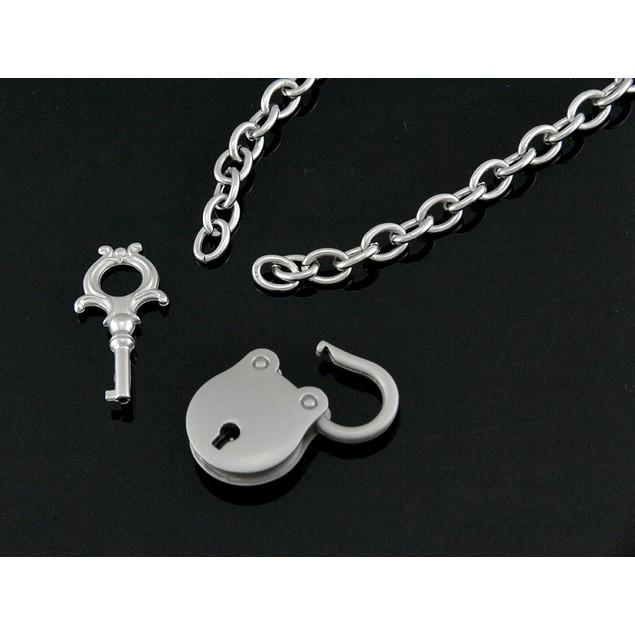 Chrome Plated Padlock Pendant & Necklace W/ Key Mens Pendant Necklaces