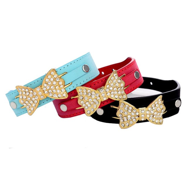 Pet Collar with Crystal Bow - Assorted Colors