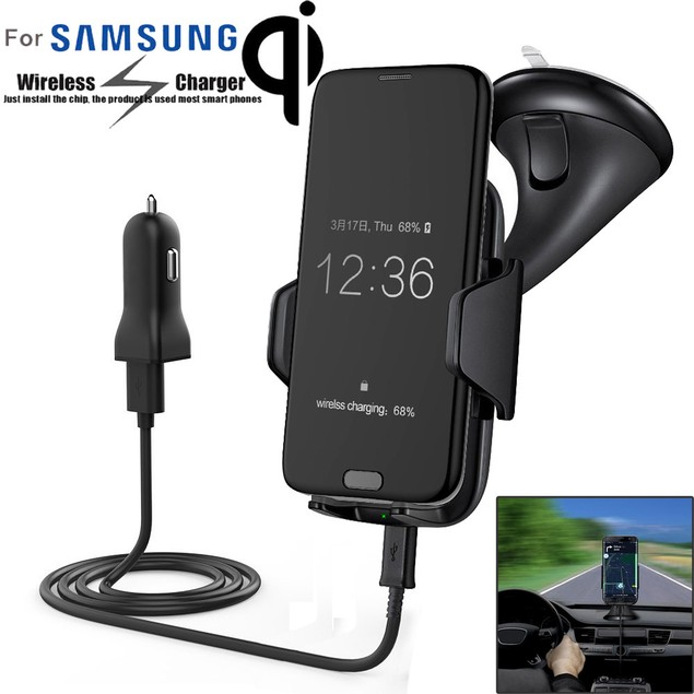 Qi Wireless Charger Car Mount Holder for Samsung Galaxy S7 Note 5