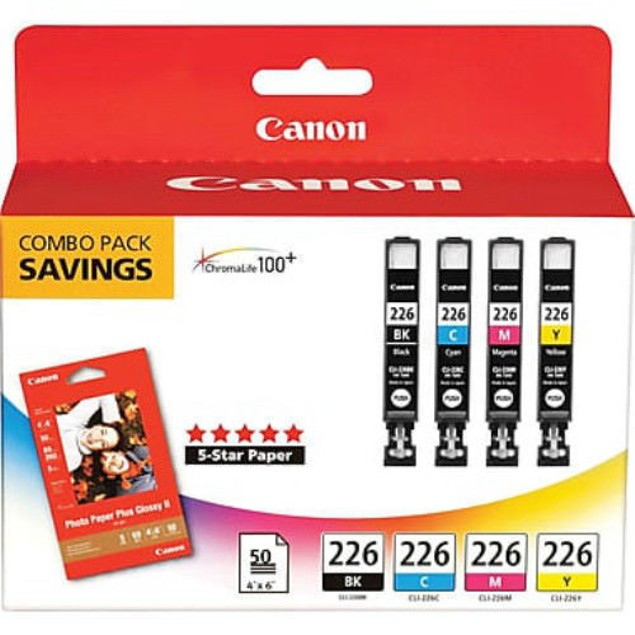 Genuine Canon CLI-226 4 Color Ink & Paper Combo Pack CLI-226 Combo Pack