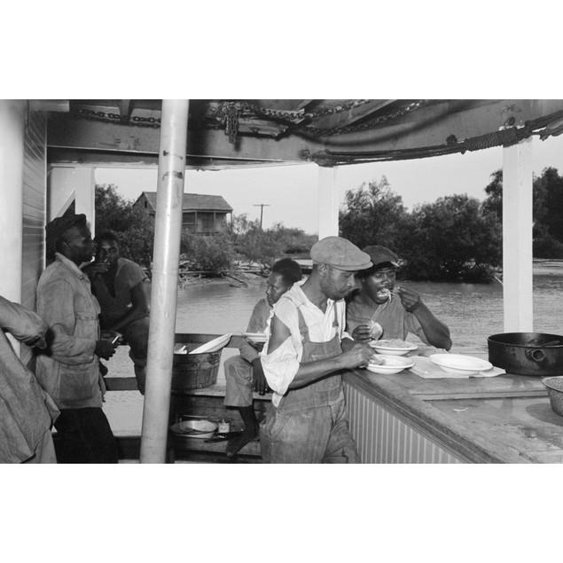 Louisiana: Stevedores, 1938. /Nstevedores Eating On Stern Of The Boat El Ri