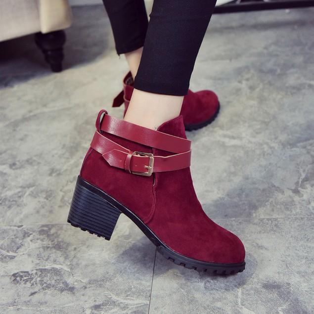 Women Low Heel Ankle Belt Buckle Martin Boots Shoes