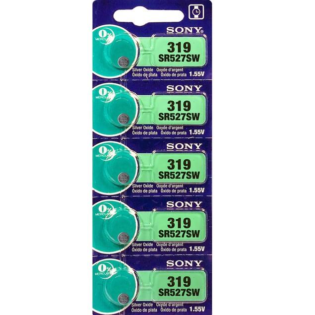 Sony 319 (SR527SW) 1.55-Volt Silver Oxide Watch Batteries (5 Pack)