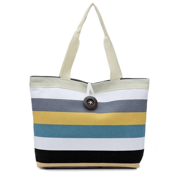 Lady Colored Striped Shoulder Canvas Bag