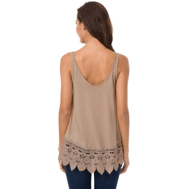 Sleeveless Crocheted Bottom Tank