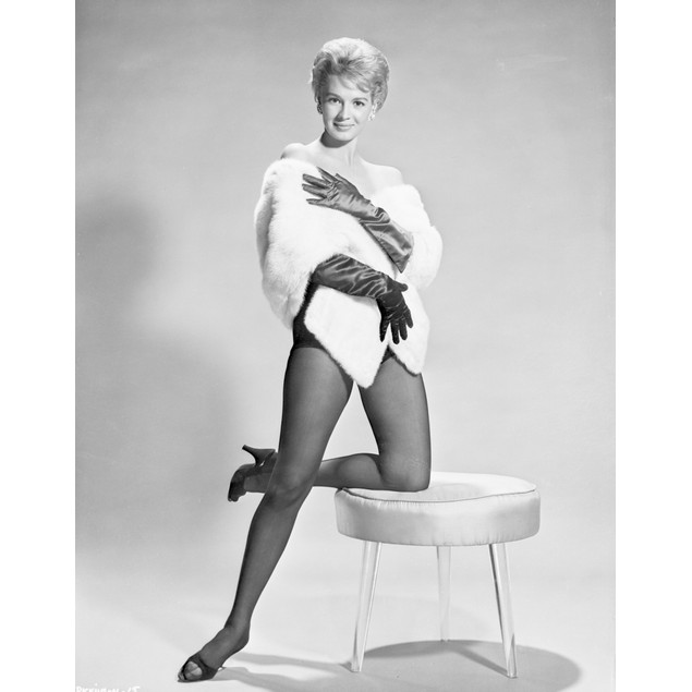 Angie Dickinson One Leg Kneeling on Table Black and White Poster