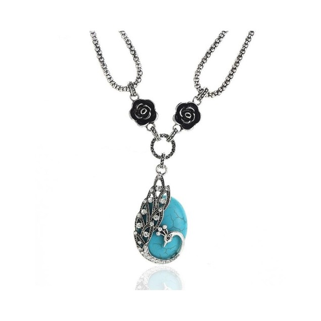 Novadab Antique Carved Peacock Turquoise Necklace For Women
