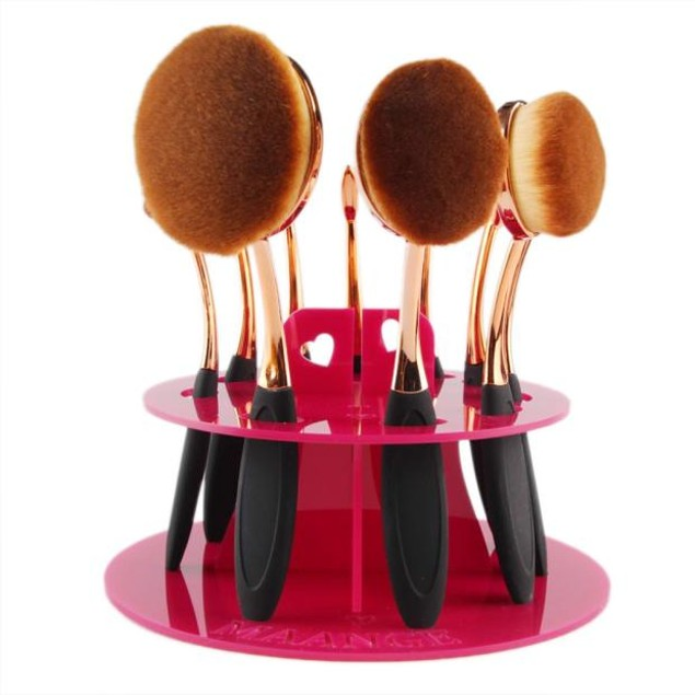 10 Hole Oval Makeup Brush Holder Drying Rack Organizer Cosmetic Shelf Tool