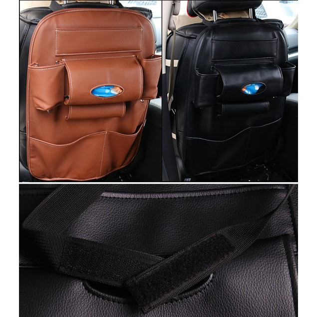 Car Seat Tidy Organiser Multi-Pocket Leather Holder Pouch Storage Bag