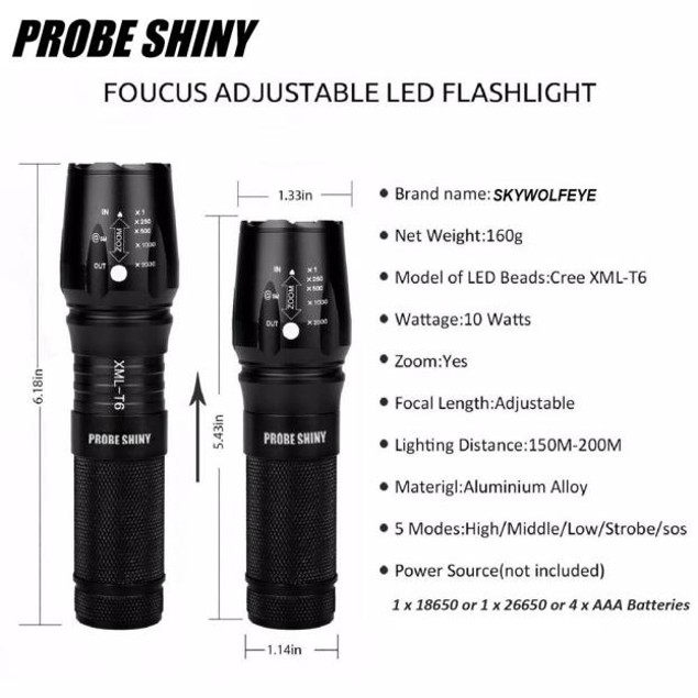 5000 Lumen Zoom Military Flashlight with Battery & Charger