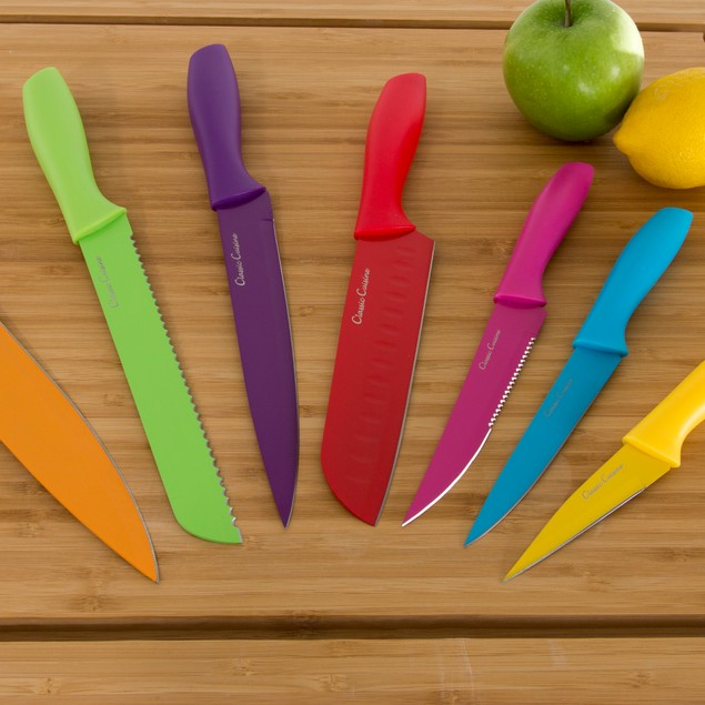 Classic Cuisine 14 Pc Colored Knife Set with Sheaths - Pro Grade