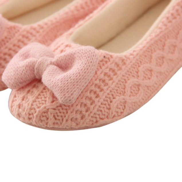 Women Indoor Slippers Outsole Cotton-Padded Bowknot Cashmere Shoes