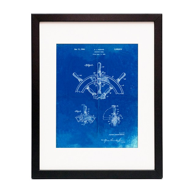 Ship Steering Wheel Patent Poster
