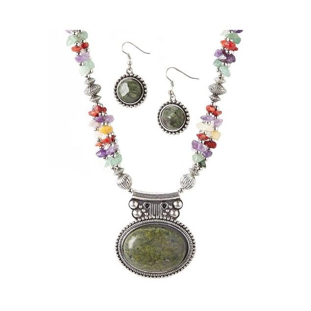 Novadab Jasper Pendant Multicolored Stones Necklace and Earrings