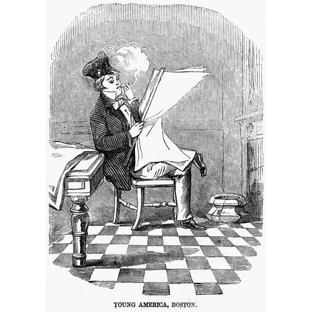 American Reading, 1856. /Na Young Bostonian Reading. Wood Engraving, Englis