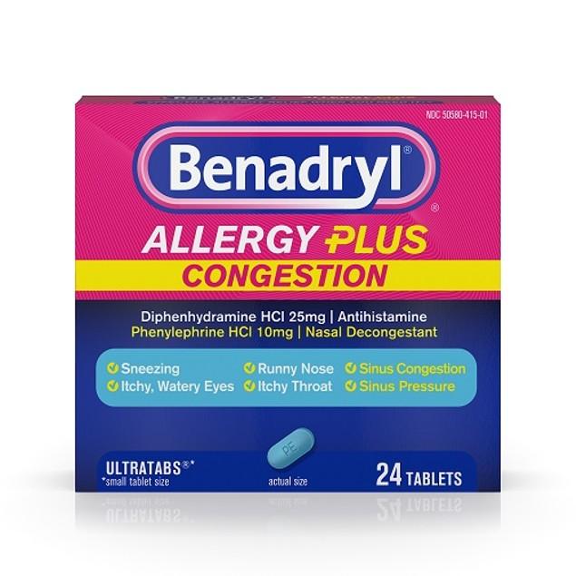 Benadryl Allergy Plus Congestion Ultratabs Tablets