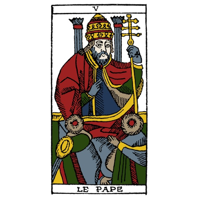 Tarot Card: The Pope. /N'The Pope (Inspiration).' Woodcut, French, 16Th Cen