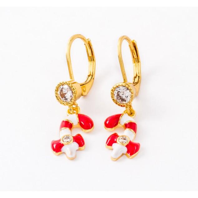 18K Gold Plated Leverback Enamel Candy Kane & Bezel CZ Earrings