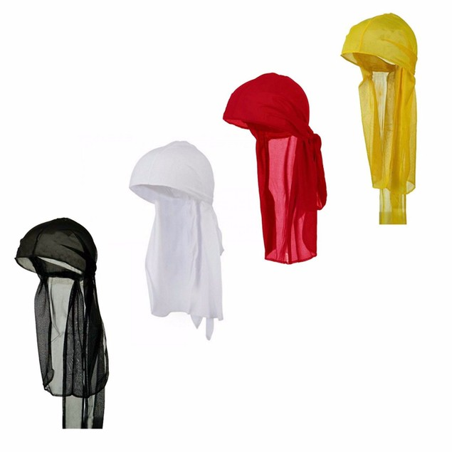 Mens Long Tie Soft Du-rag Skull Cap